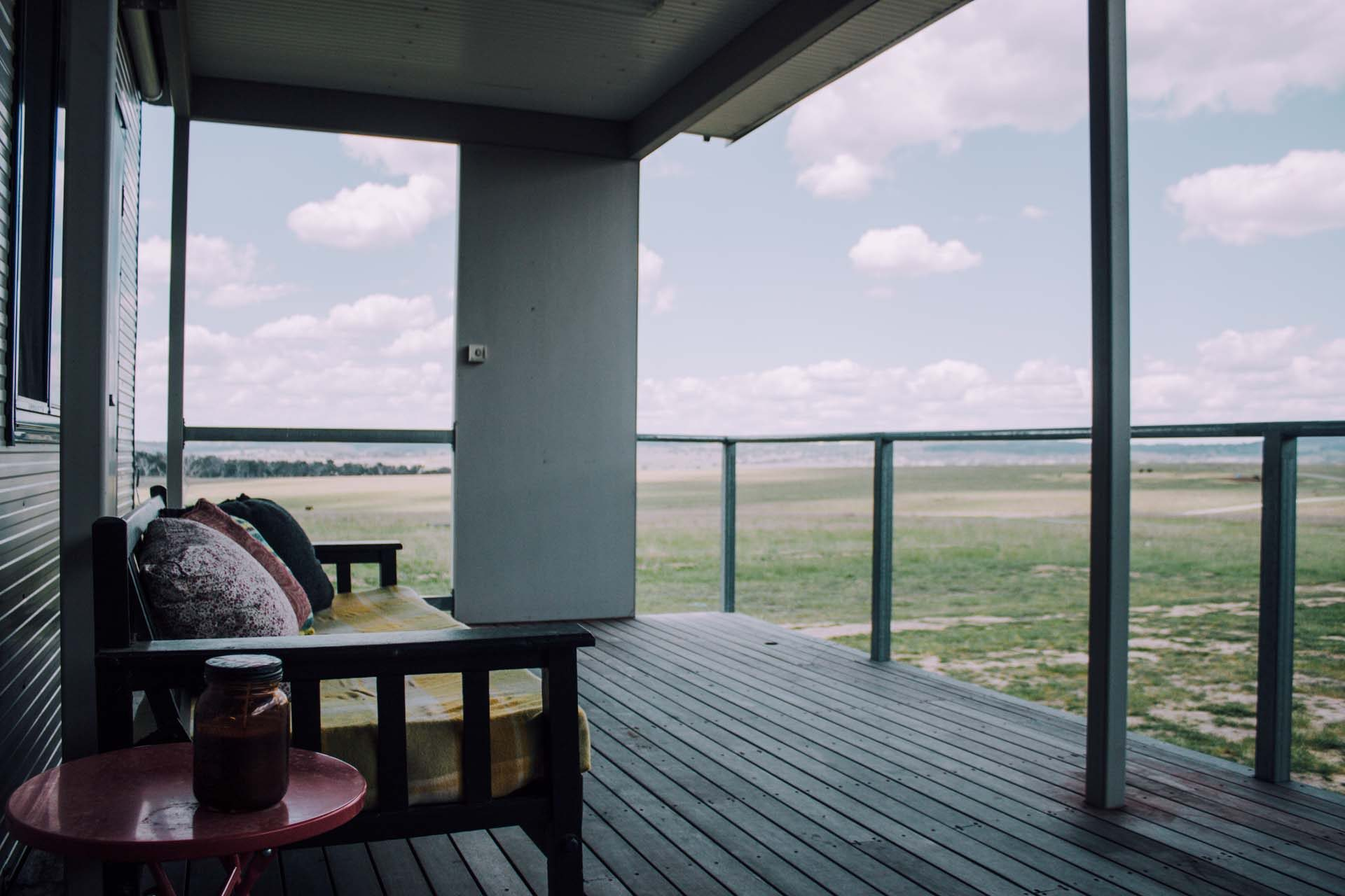 The verandah on the farmstay property at Willow View Pastoral