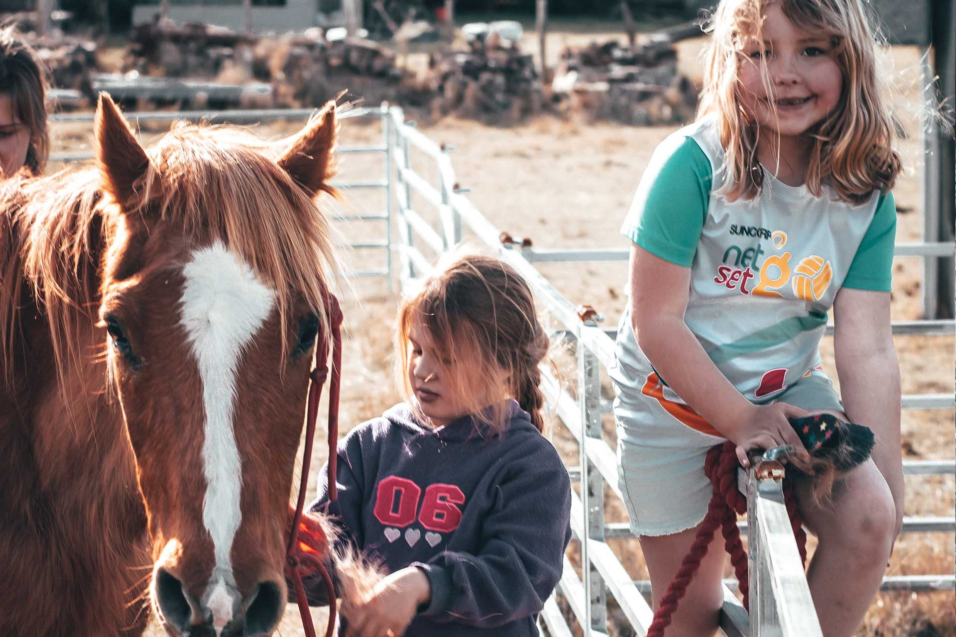 Children Holding The Reigns Of A Horse At Willow View Farmstay